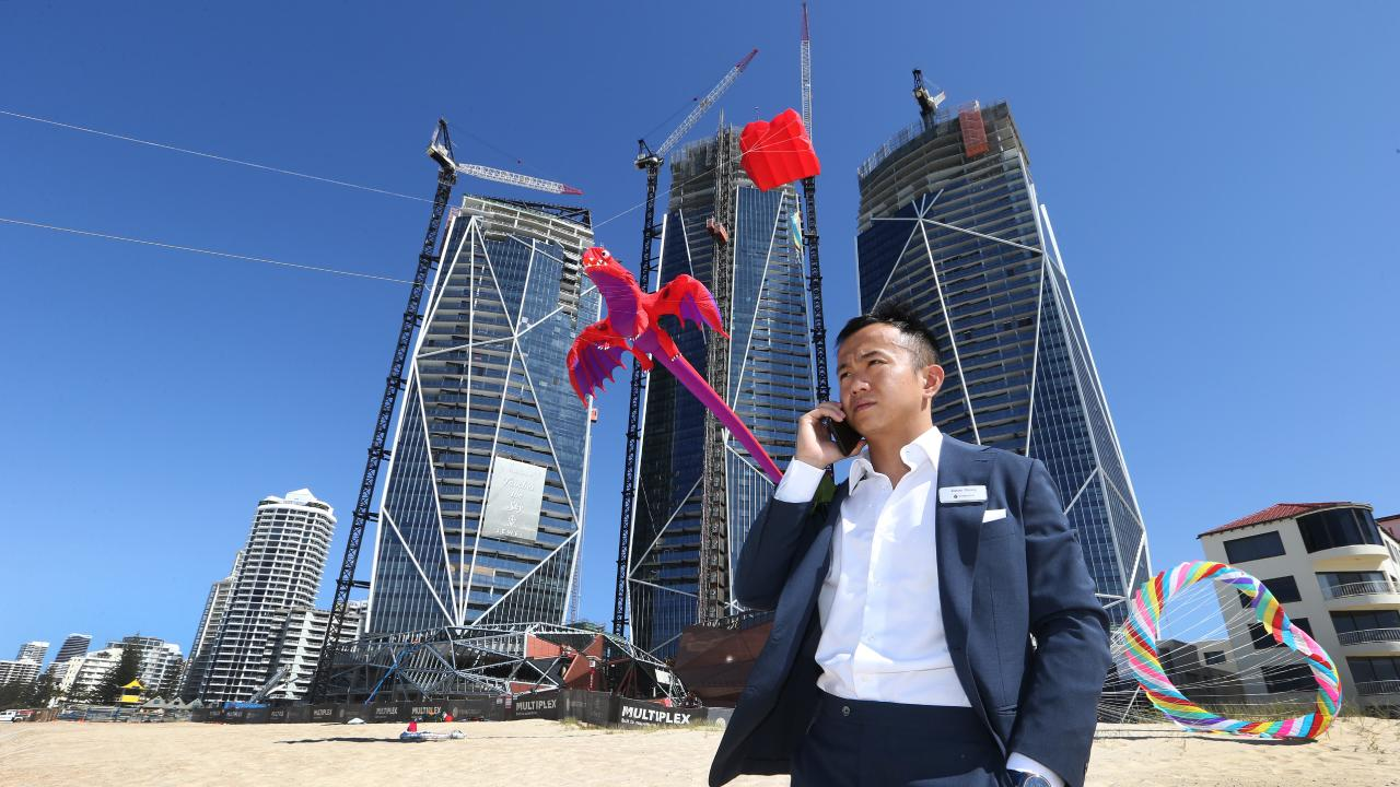 Jimmy Huang of Yuhu Group Group looks on at the Topping Out Ceremony at Jewel on the Surfers Paradise beach edge earlier this year. Picture Glenn Hampson