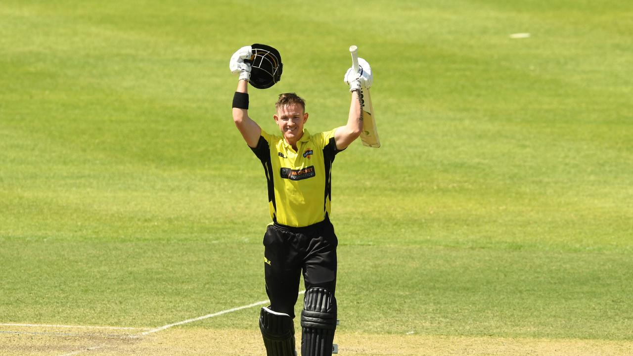 D'Arcy Short of Western Australia celebrates his double century.
