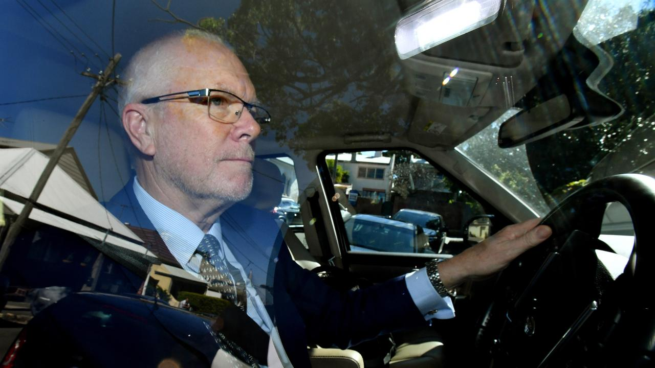 Former ABC Chairman Justin Milne returns to his home in Sydney after resigning as chairman of ABC. Picture: AAP Image/Joel Carrett