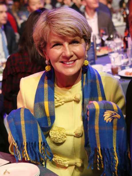 Julie Bishop in her West Coast colours. Picture: David Crosling/AAP