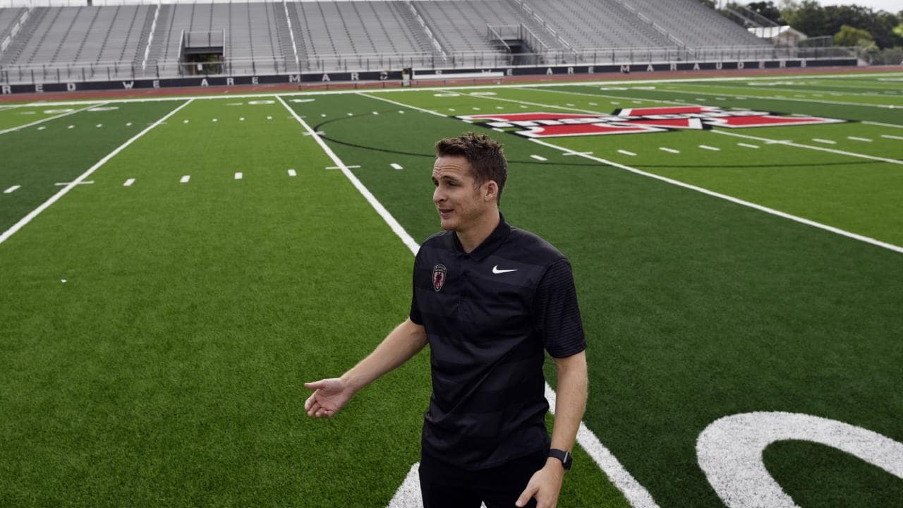 Sam Garza, Mason Cox's soccer teammate, on the field where they competed during his high school years at Marcus High School in Flower Mound, Texas. Picture: Ben Torres