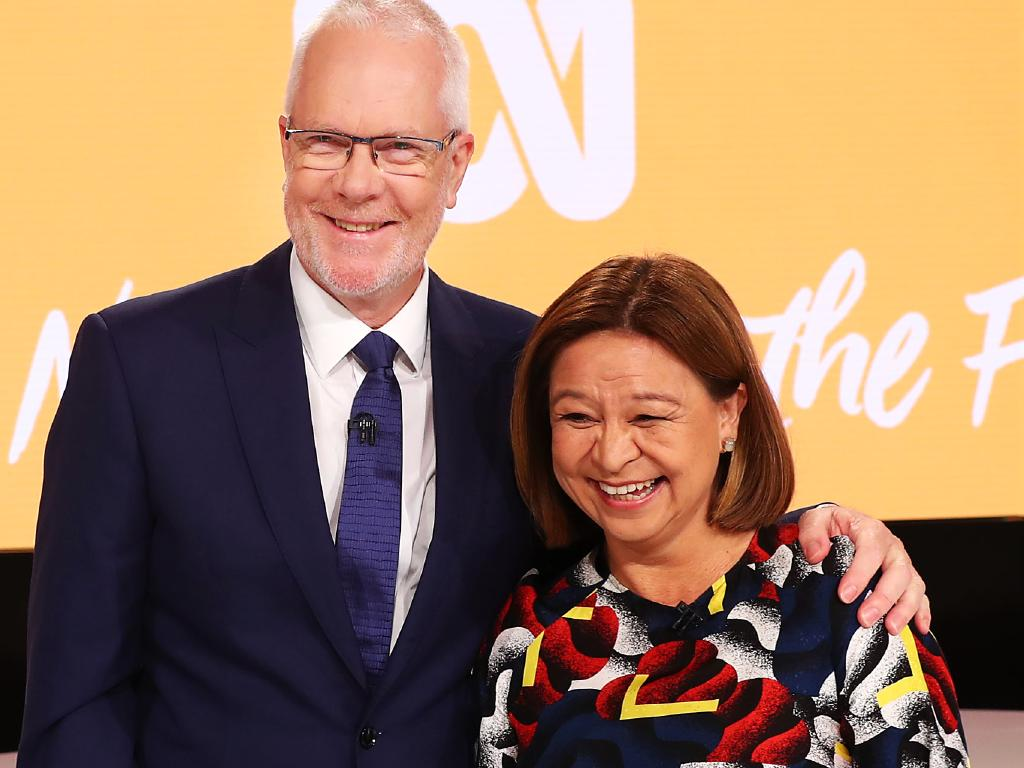 Former ABC chairman Justin Milne and former managing director Michelle Guthrie. Picture: John Feder/The Australian.