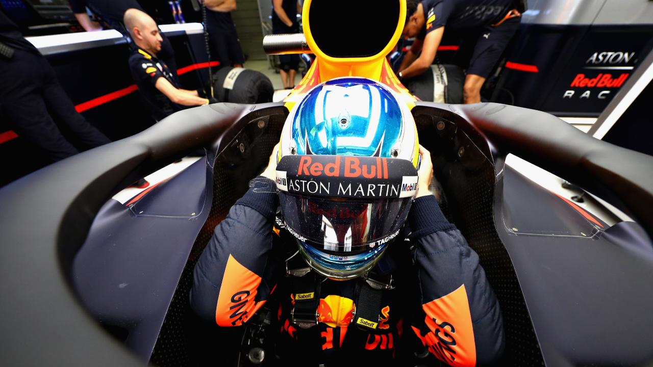 Daniel Ricciardo had his game face on for practice. Picture: Mark Thompson/Getty