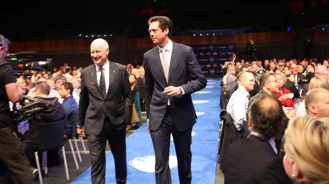 AFL Commissioner Richard Goyder and CEO Gillon McLachlan at the breakfast. Picture: David Crosling/AAP