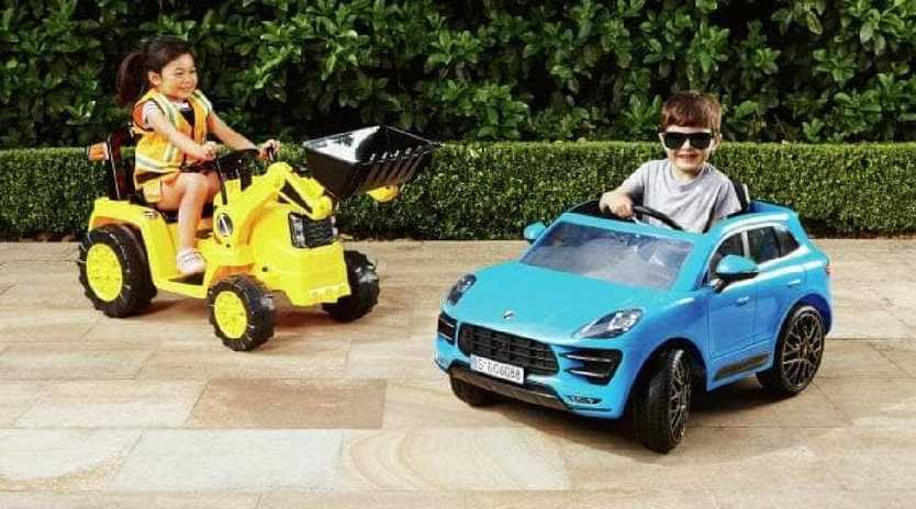 This year Aldi will sell motorised Porches and tractors for kids.