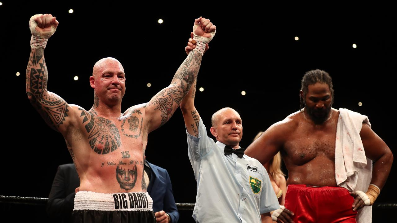 Lucas Browne celebrates winning his heavyweight bout against Julius Long. Picture: Getty