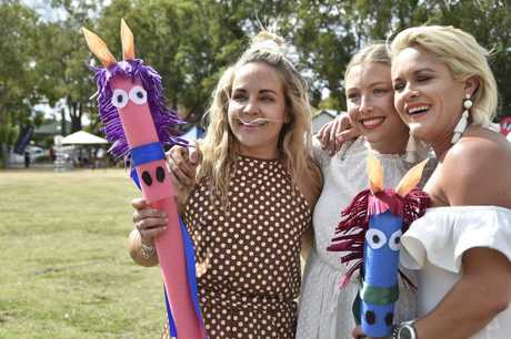Penelope Dowling, Sarah Tomlinson and Louise Newman. Spring Polo in Queens Park. September 2018