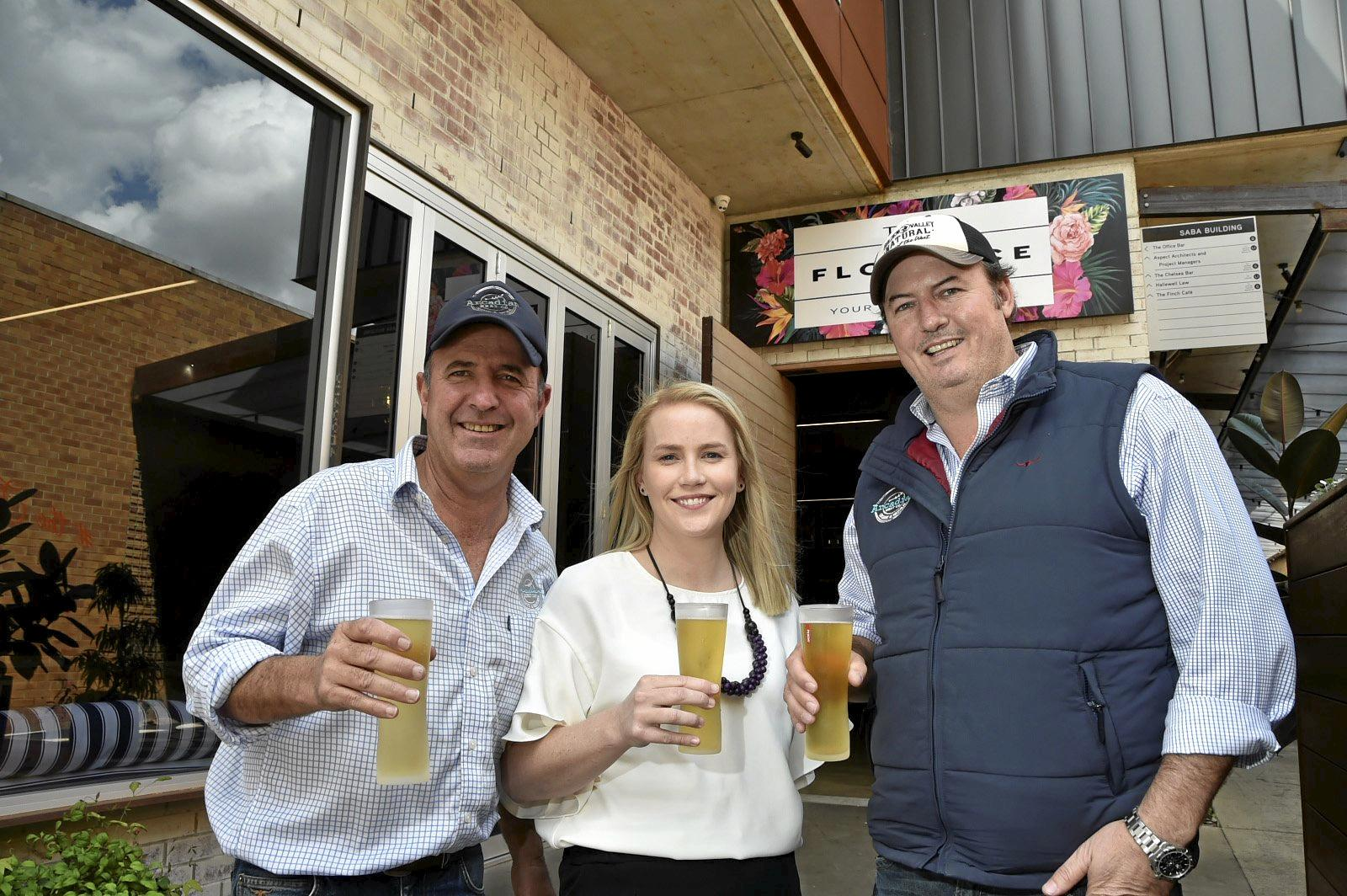 DROUGHT RELIEF: Getting ready for the drought fundraising lunch at The Florence, the major sponsors Arcadian Organic & Natural Meat Co Peter Gall (left) and Alister Ferguson with organisor Molly Beck. September 2018