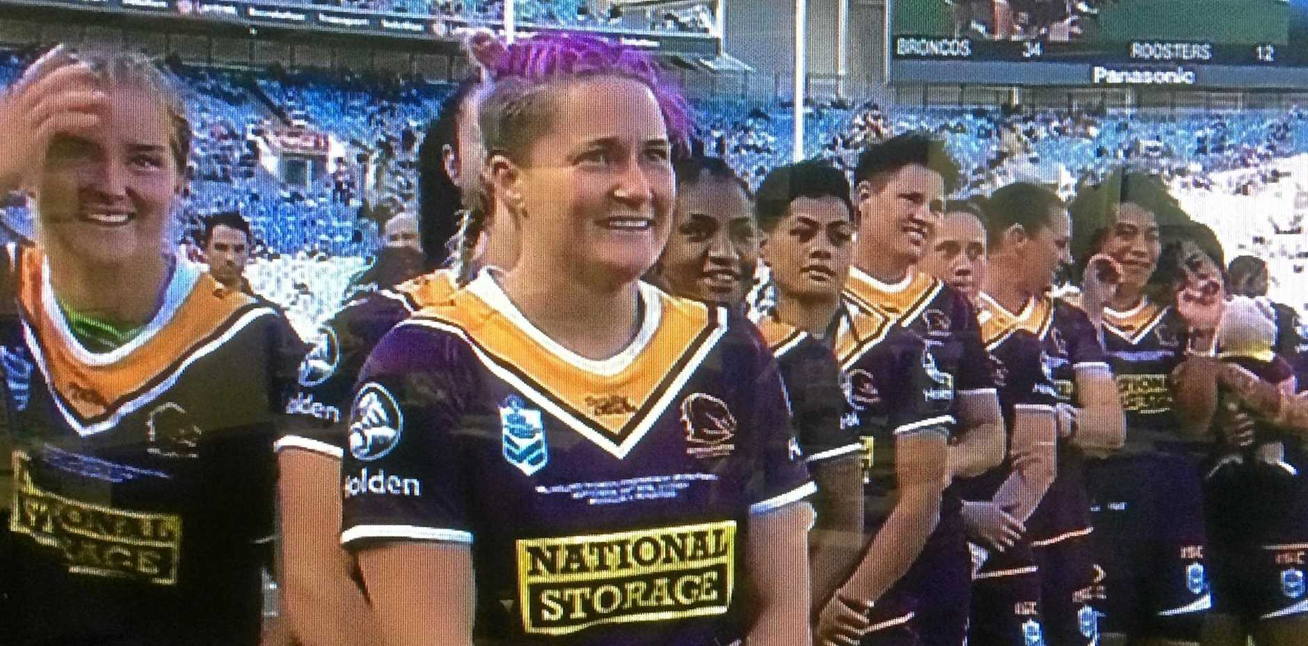 VICTORY: Chelsea Baker about to receive her NRLW Premiership ring after the Brisbane Broncos' 34-12 victory against Sydney Roosters in the 2018 NRLW Grand Final.