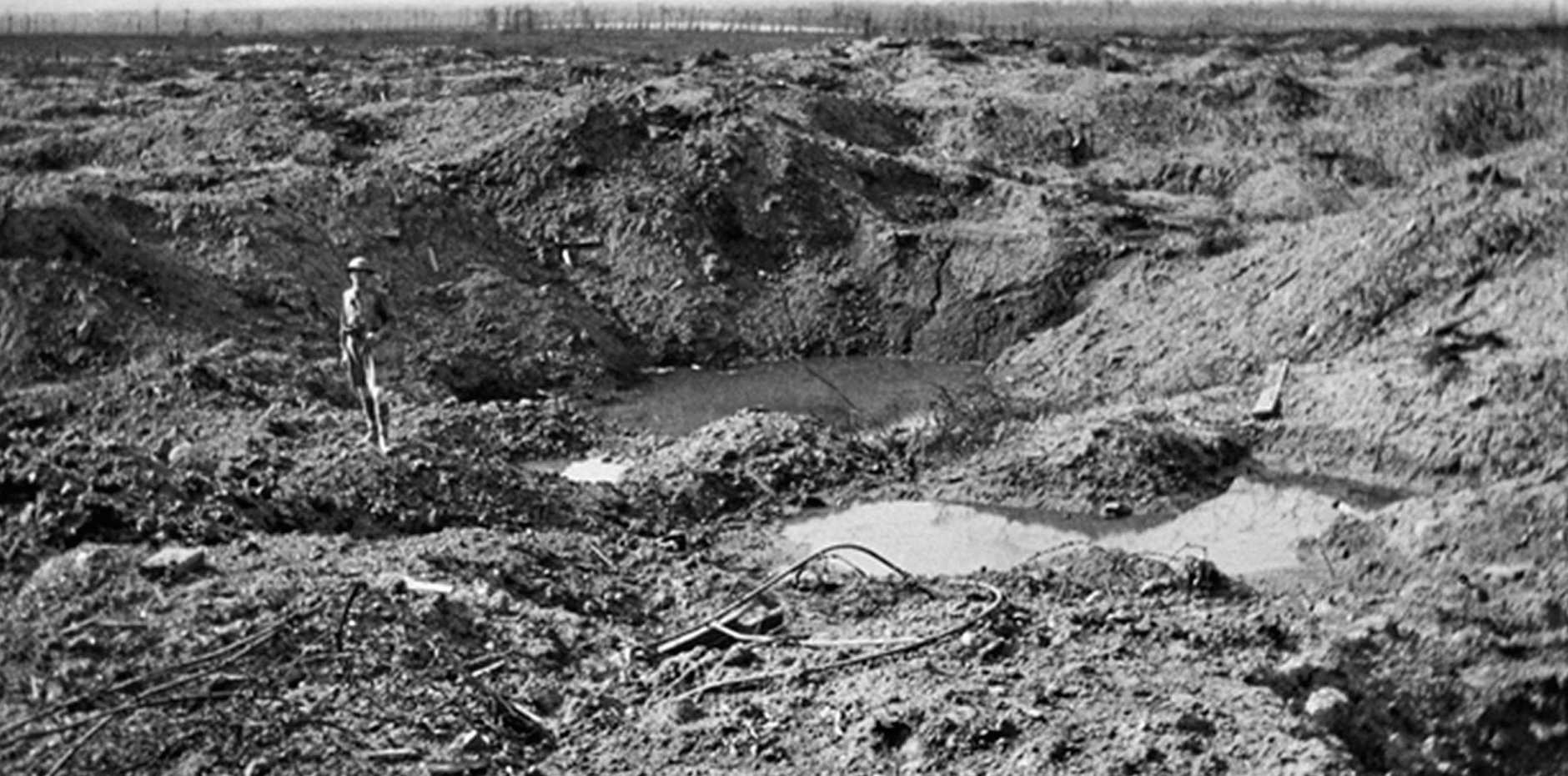 SOMME: Looking from an old crater on the north side of Hill 60, over the shell pitted ground. Photo Courtesy the Australian War Memorial.