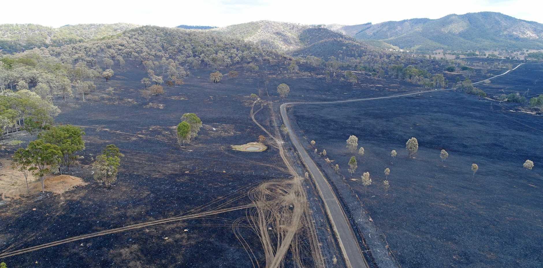 Aerial footage of the aftermath of the Woolooga fire.