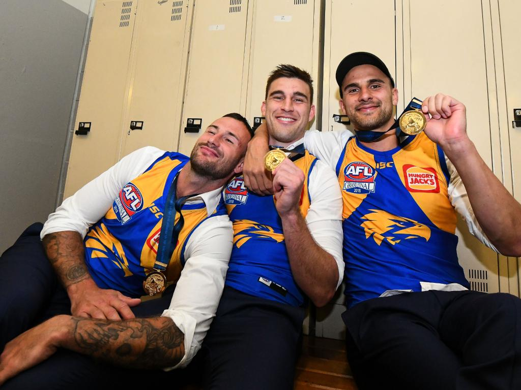 Chris Masten, Elliot Yeo and Dom Sheed. (Photo by Daniel Carson/AFL Media/Getty Images)