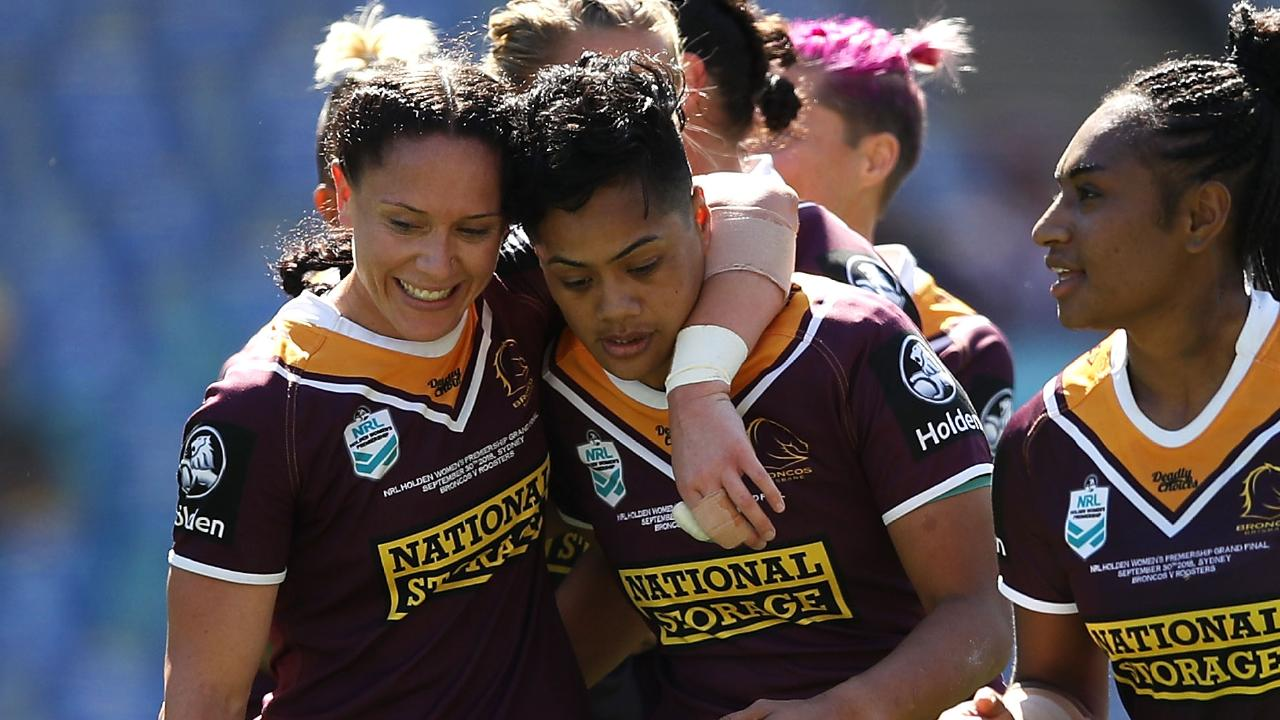 Kimiora Nati celebrates one of her tries with her Broncos teammates. Picture: Getty Images