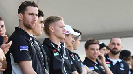 Jeremy Howe (left) at Collingwood's fan day at Olympic Park Oval. Pic: AAP