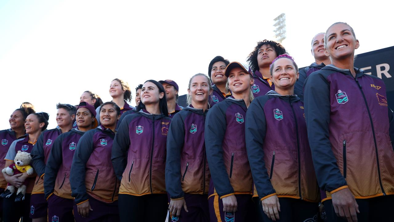 Ali Brigginshaw of the NRLW Brisbane Broncos and teammates are introduced on stage during the 2018 NRLW Fan Day/ Picture: Getty Images