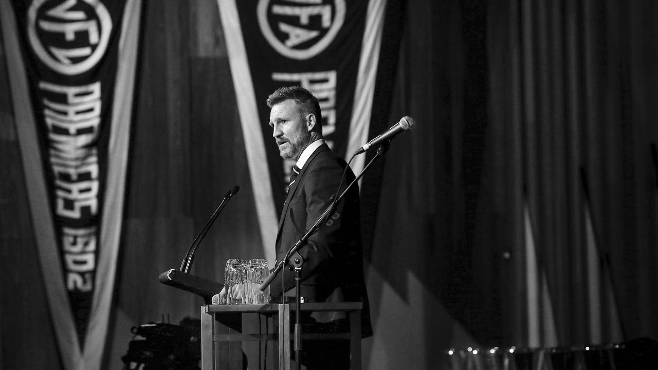 Nathan Buckley speaks at Collingwood's Grand Final after-party. Picture: Ian Currie