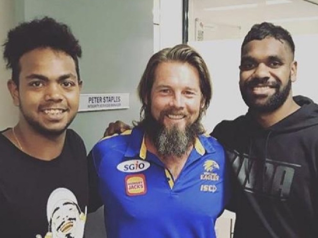 Eagles premiership players Willie Rioli and Liam Ryan with former star Ben Cousins. Picture: Instagram/wjrioli17