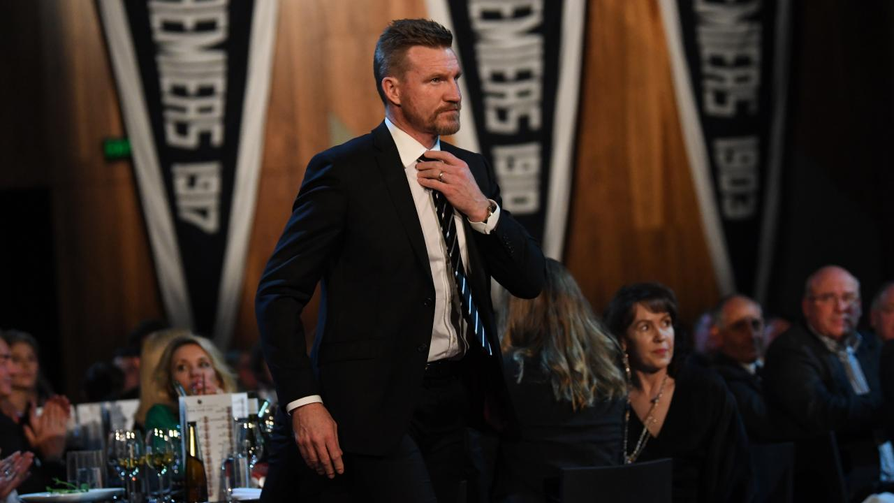 Collingwood coach Nathan Buckley at the Pies' Grand Final dinner.