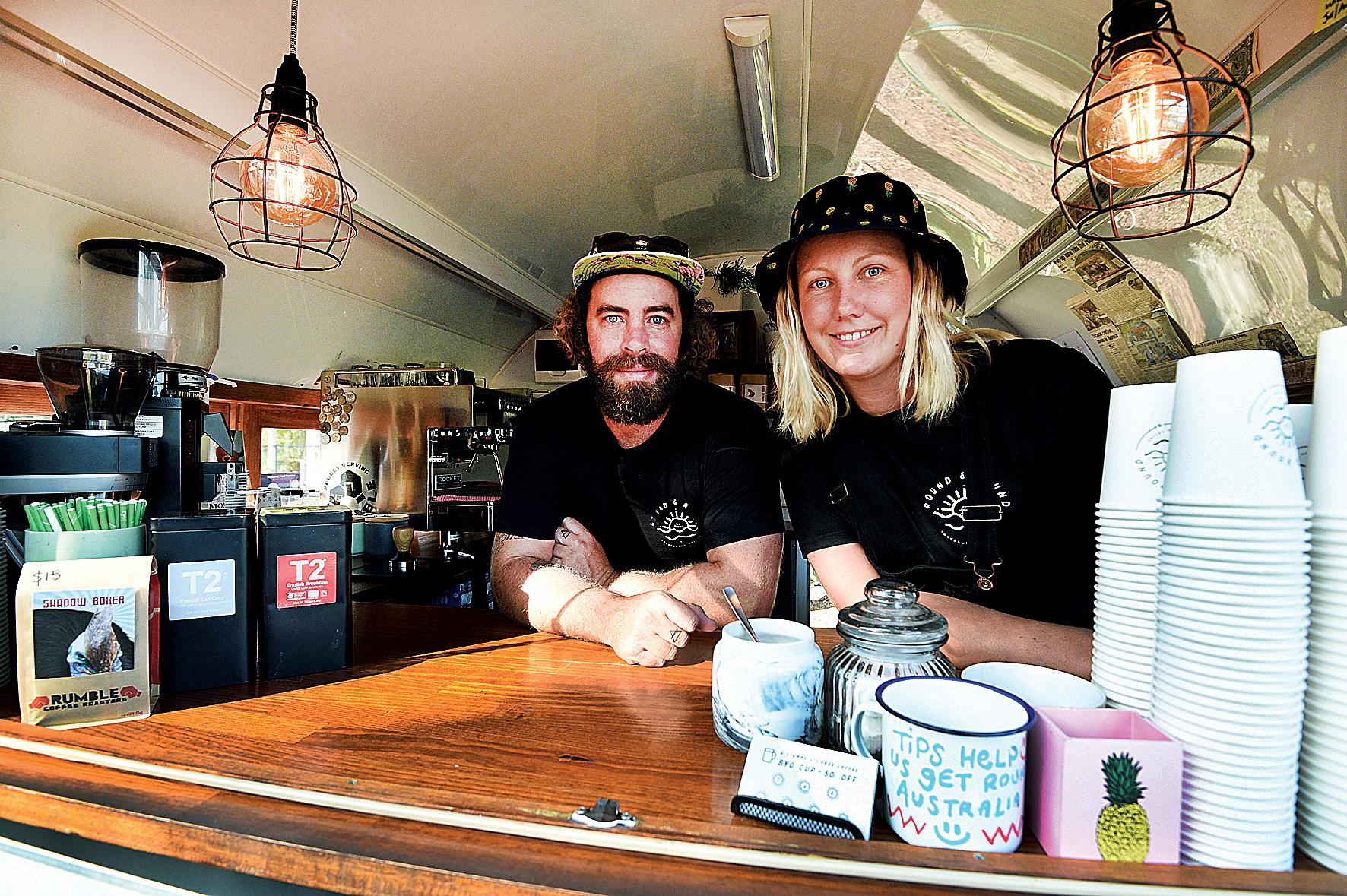 JUST BREW IT: Andy Hoffman and Jess Davidson in their travelling coffee van Round & Round.