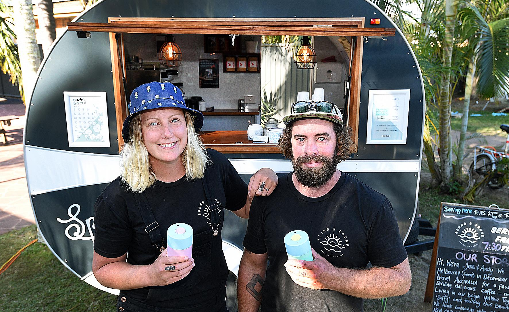 Andy Hoffman and Jess Davidson with their travelling coffee van Round & Round.