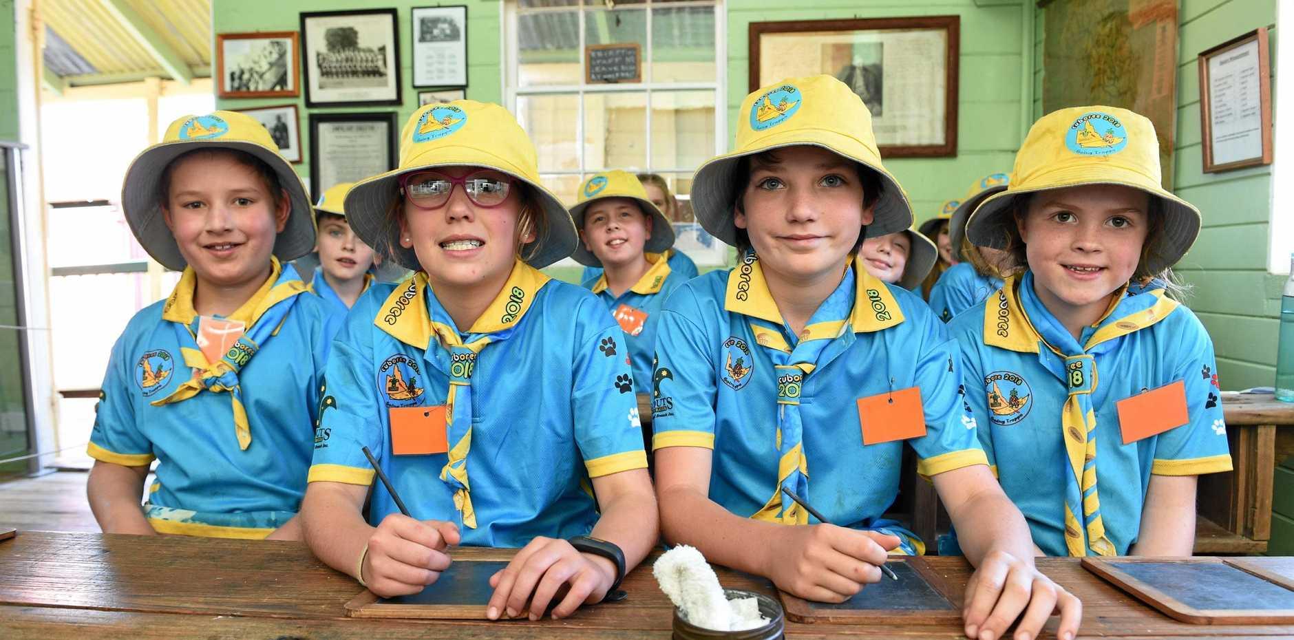 Fifth Queensland Cuboree 2018 visit Hervey Bay Historical Village & Museum - (L) Hamish Slattery (Albany Creek), Jorja Cairns (Goondiwindi), Sam Gaylard (Nambour) and Hayley Apps (Marsden) in the school house.
