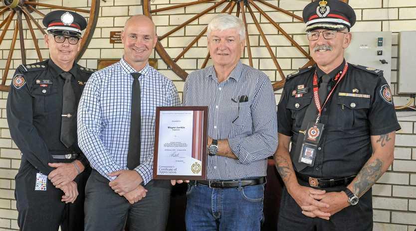 Acting Inspector Noel King, State Member for Gladstone Glenn Butcher and Assistant Commisioner for the Central Region Queensland Steve Barber with Inspector Wayne Larkin.