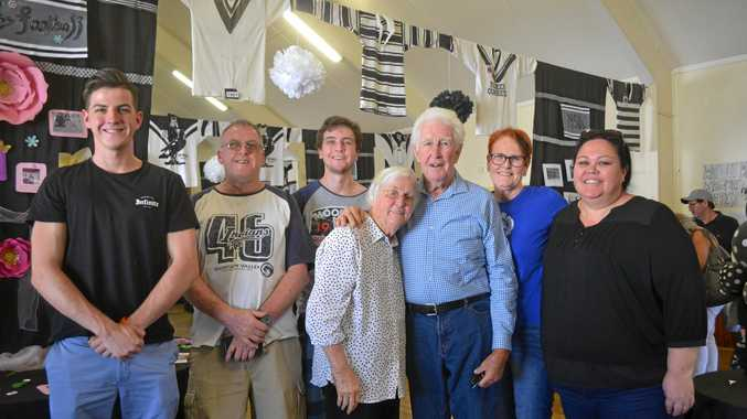 THE BIG 100: Kenny Lee, who played for the Mitchell Magpies in the 1950s, returned on the weekend with his wife and family to celebrate.