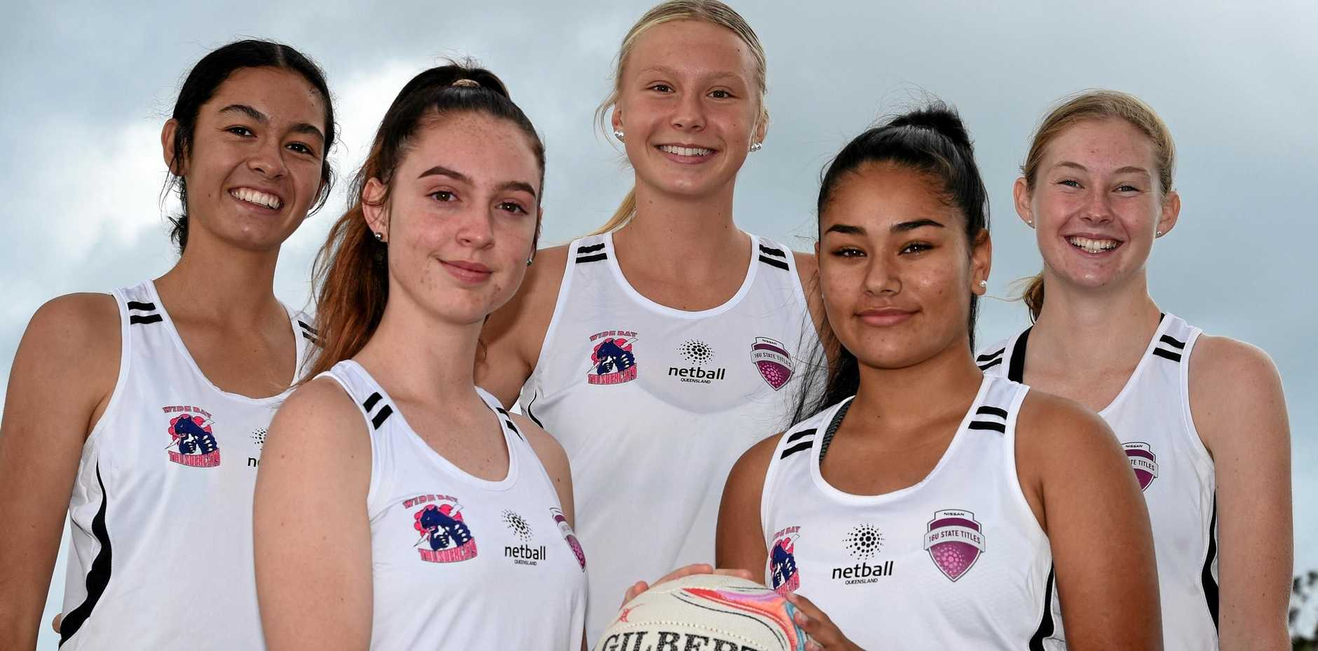REP DUTY: Hervey Bay netballers selected for Wide Bay Thundercats' under-16s. Back: Grace Farrelly, Keira Stephens, Brooke Harvey. Front: Sophie Harvey and Tamara Anderson.