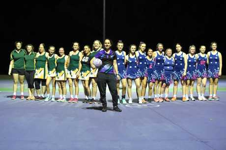 Maryborough Netball - President Helen Outhwaite with the two senior grand finalist teams Brumbies Bravos and Fusion.