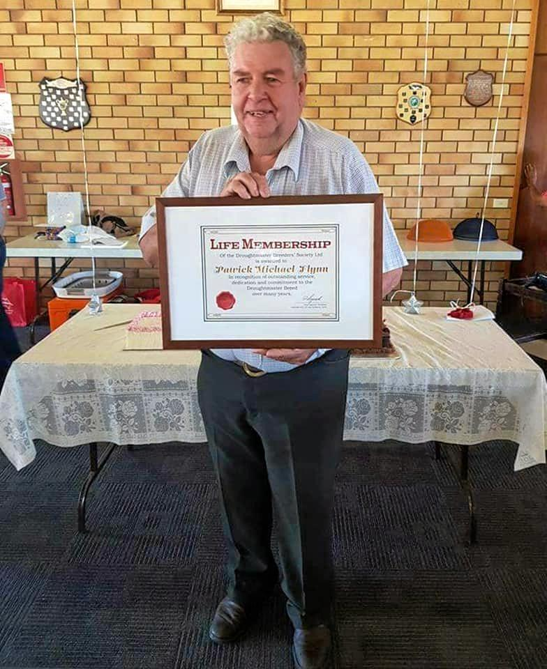 Pat Flynn after receiving life membership for Droughtmasters Australia.