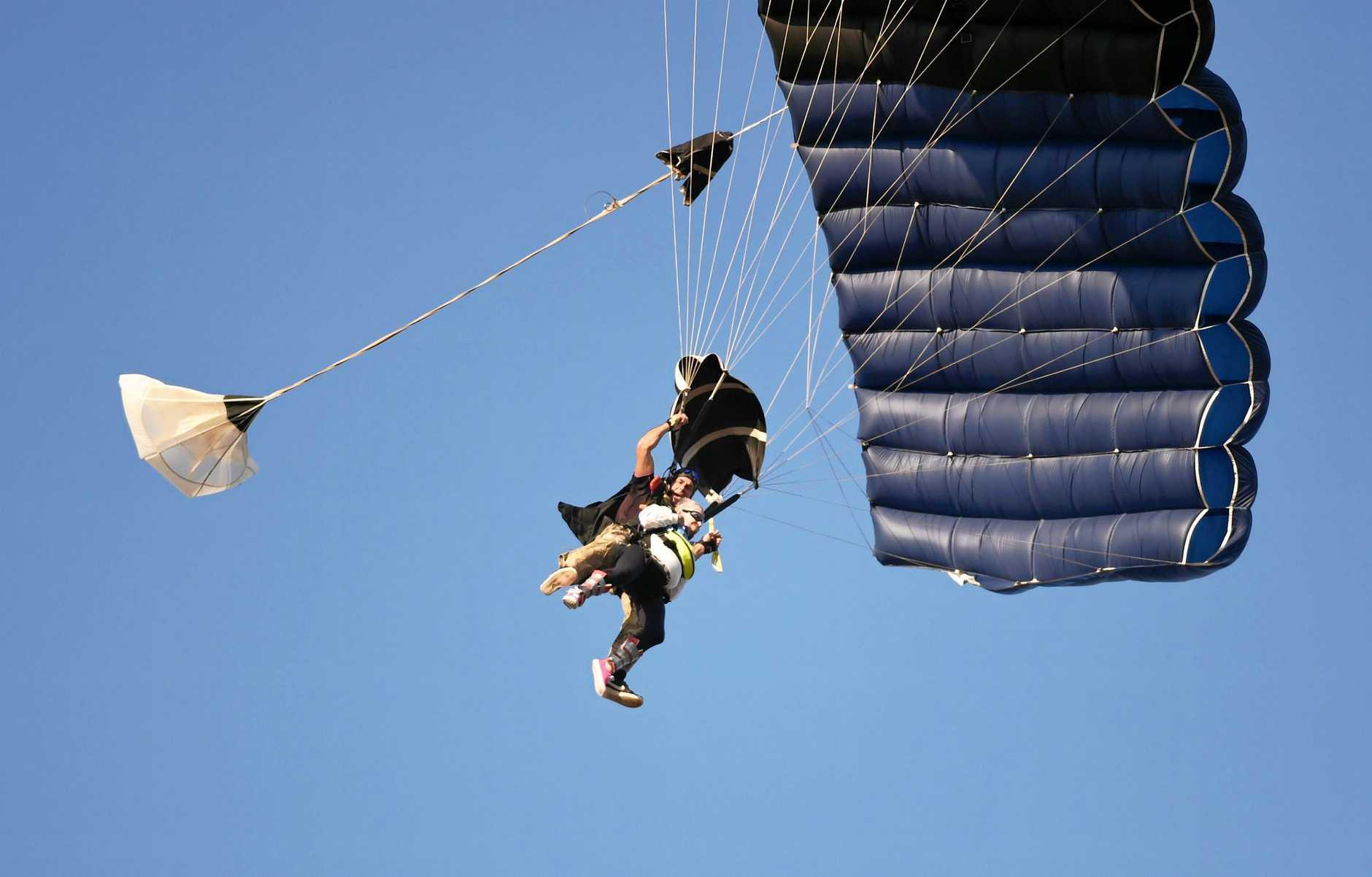 Great Grandma's Skydive - 90yo Kathleen Glock and Skydive Hervey Bay owner Peter Agnew coming in for landing at Urangan beach.