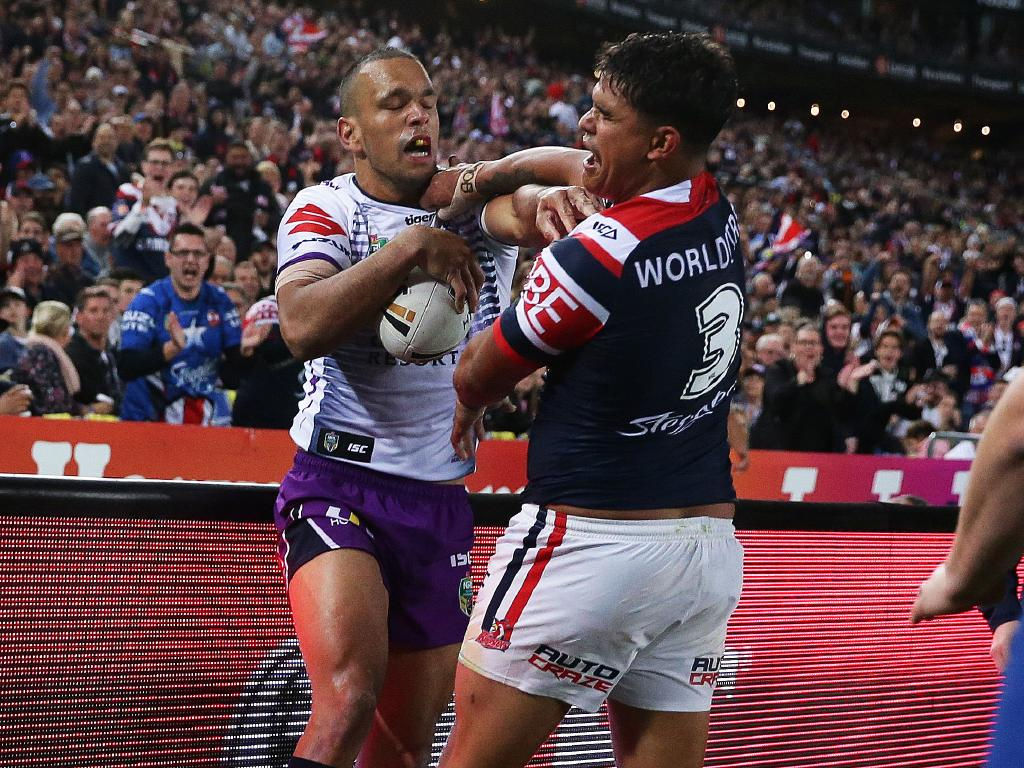 Latrell Mitchell and Will Chambers go head-to-head off the field.