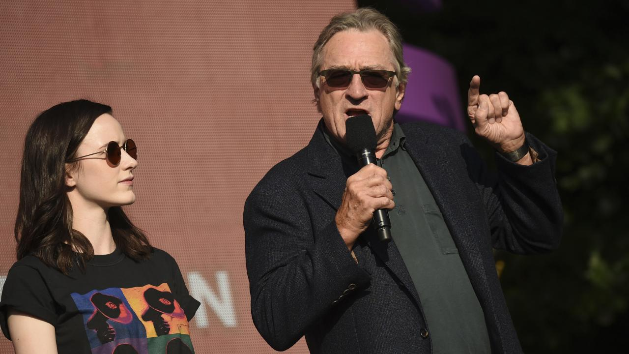 Rachel Brosnahan, left, and Robert De Niro addressed the crowd. Picture: AP