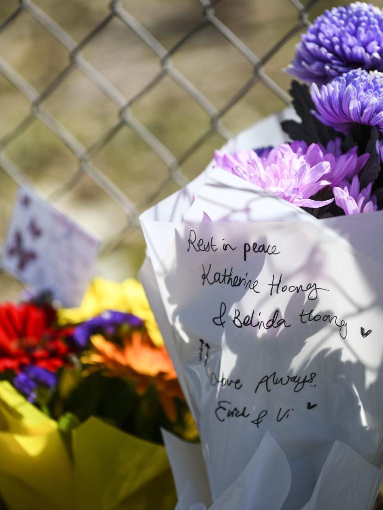 Flower tributes left at the crash site.