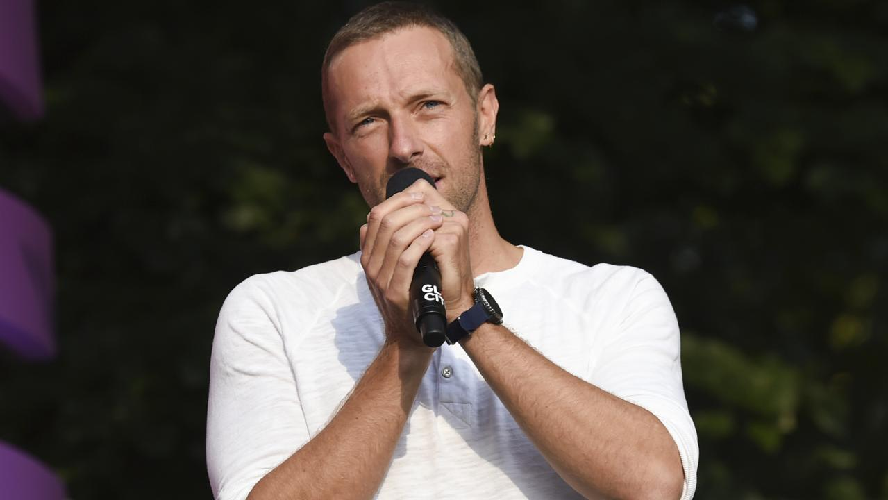 Global Citizen Festival curator Chris Martin addressed the crowd during a security scare in Central Park. Picture: AP