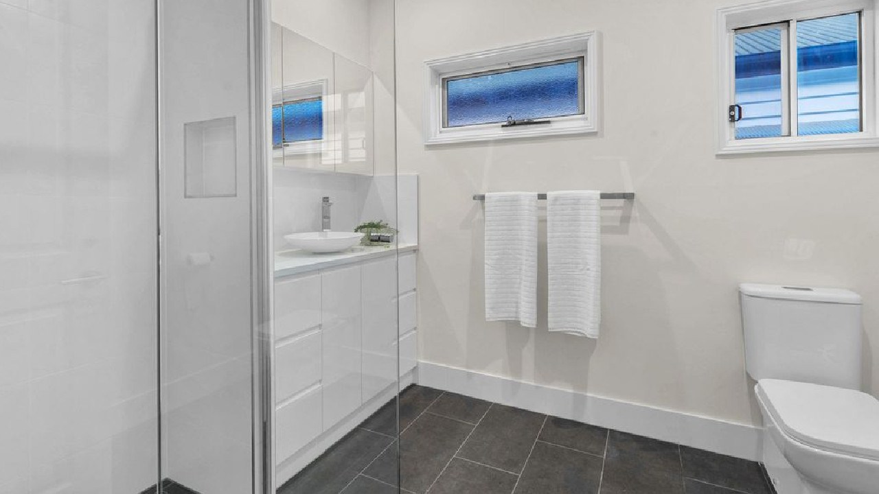 One of the bathrooms in the house at 26 Cowper St, Bulimba, after the renovation.