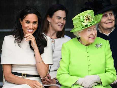 The Duchess of Sussex during her first public engagement with the Queen.