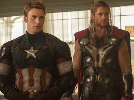 Evans (left) as Captain America. Picture: Marvel