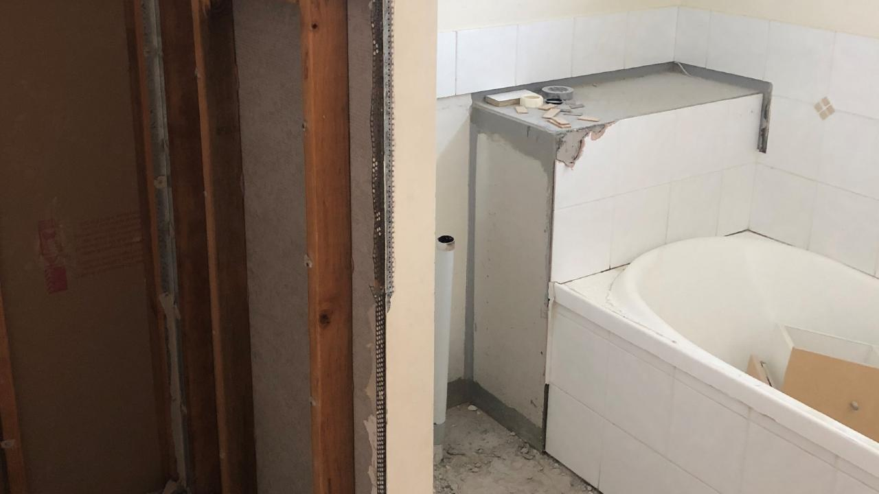 The bathroom at 26 Cowper St, Bulimba, before the renovation.