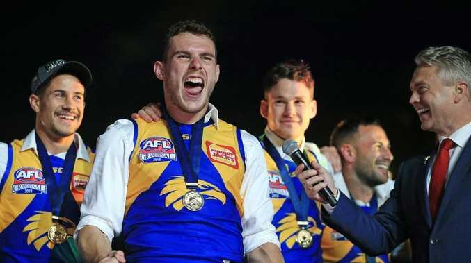 West Coast's Luke Shuey celebrates the win. Picture: Mark Stewart