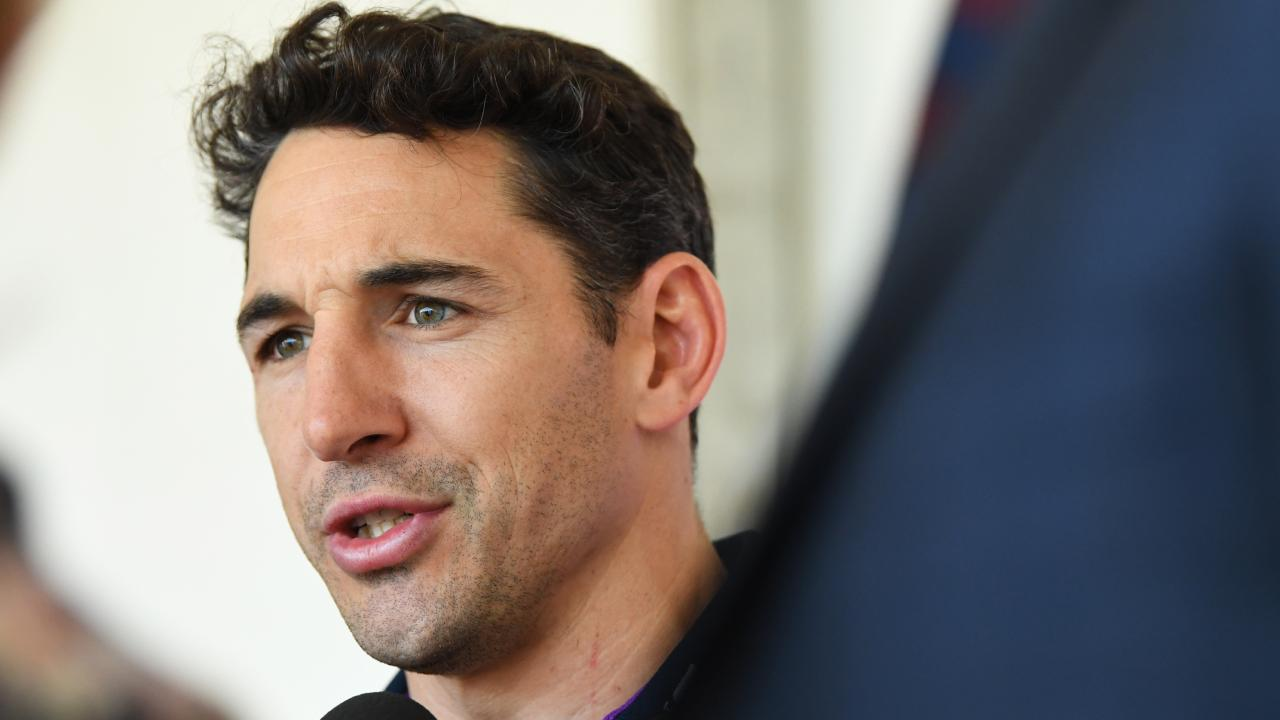 Billy Slater of the Melbourne Storm addresses the media during Melbourne Storm Fan Day. (AAP Image/James Ross)