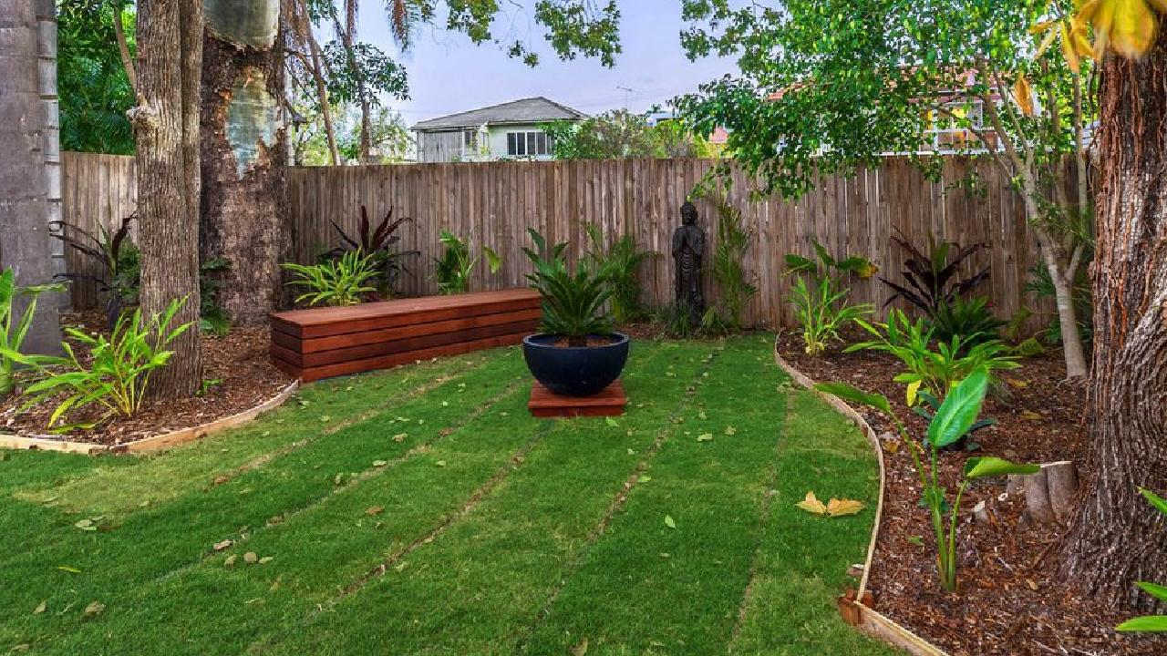 The backyard of the property at 26 Cowper St, Bulimba, after the renovation.