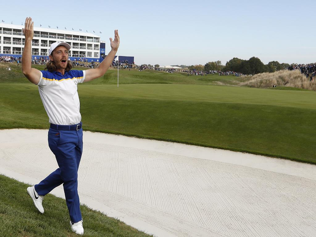 Tommy Fleetwood gets the crowd going. Picture: AP