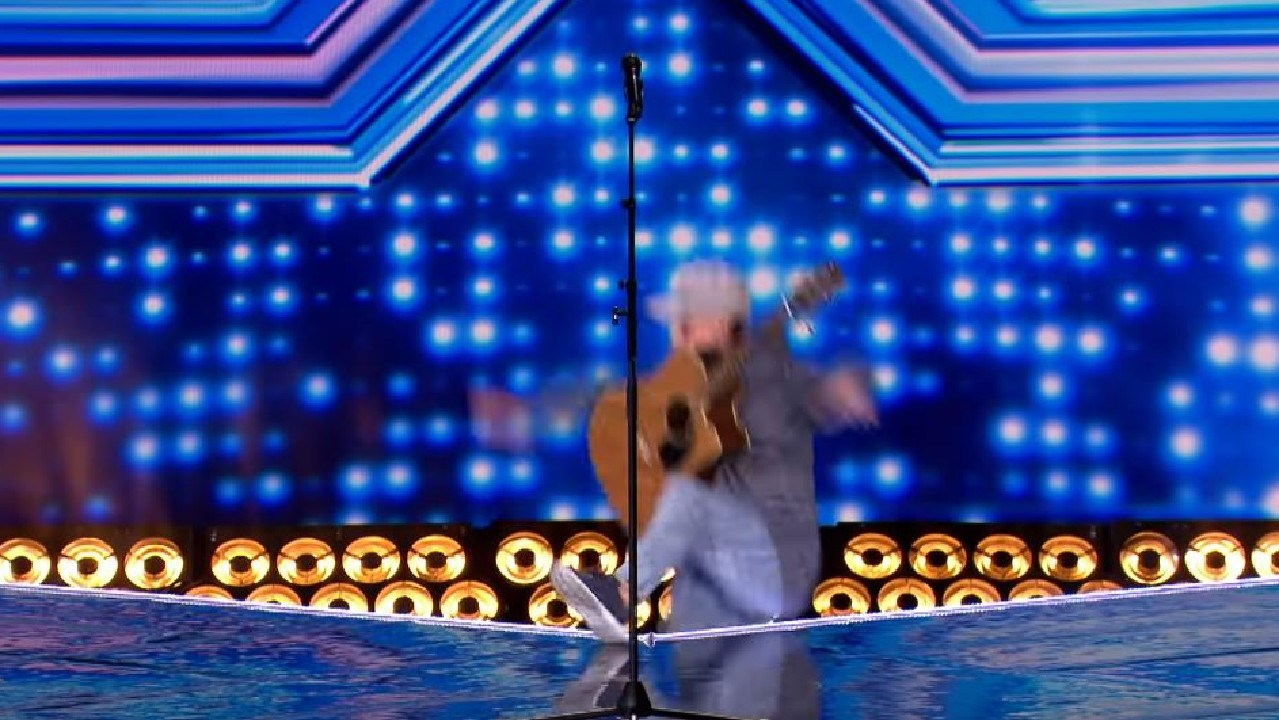 An X Factor contestant fell off the stage.