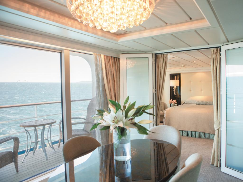 Cabins with balconies are a popular choice. This suite is on the Seven Seas Mariner.