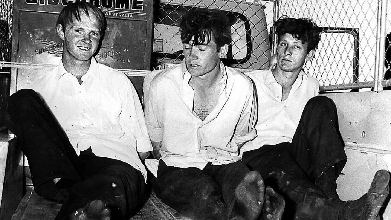 Terrence Haley, Raymond Gunning and Andrew Brooks handcuffed in back of truck after their capture on Birdsville Track on 14 September 1970. Picture: Supplied