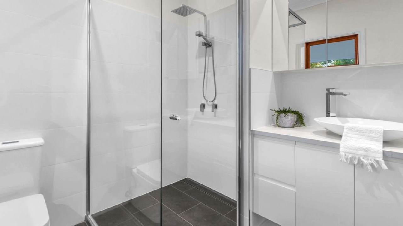One of the bathrooms at 26 Cowper St, Bulimba, after the renovation.