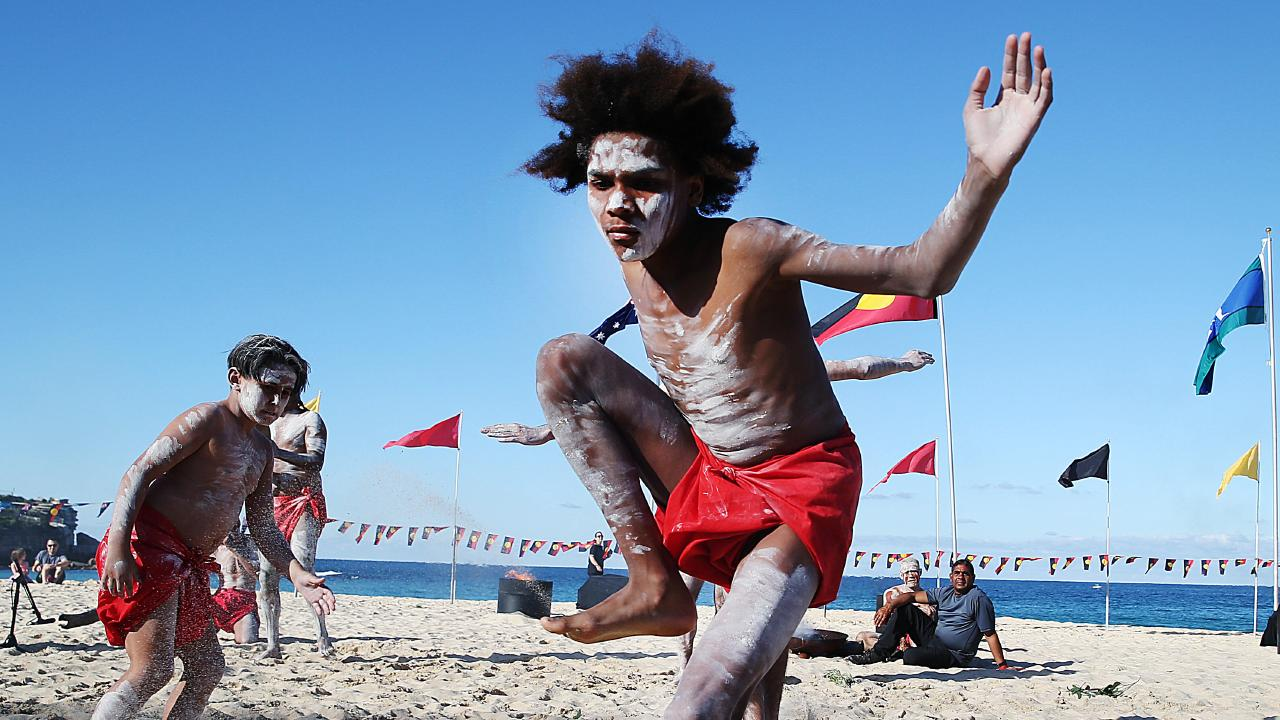 A corroboree at Coogee Beach to mark National Sorry Day.