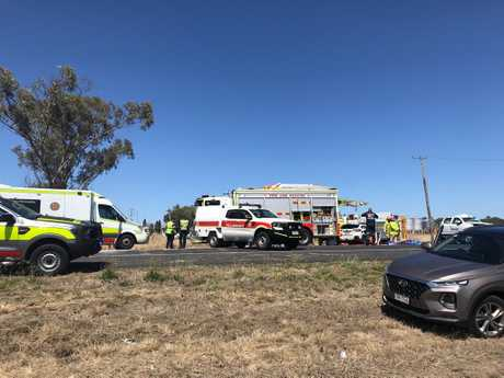 Emergency services respond to the scene of a crash near Oakey on October 2, 2018.