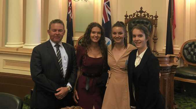 Callide MP Colin Boyce with Jemma Mobbs, Caitlyn Donohue and Mikah Appel.